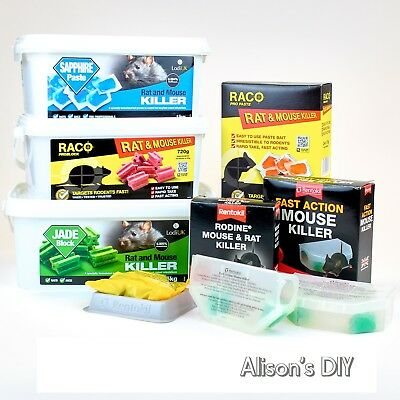 Mouse & Rat Killer Fast Poison Trap Bait Tray Box Rentokil Raco Paste Jade Block