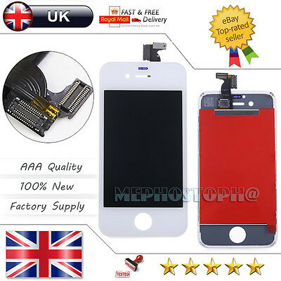 For iPhone 4S White LCD Display Touch Screen Glass Digitizer Lens Replacement