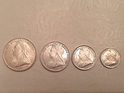 - Great Britain 1900  Victoria Silver Maundy Set – Choice uncirculated