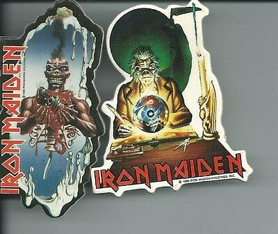 Iron Maiden  Cut Out Pin Lot Of 2 1990 Offical Mechiandise Steve Harris