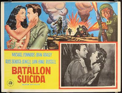 L742 SUICIDE BATTALION Mexican Lobby card '58 art of fighting World War II