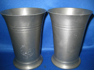 """4.5""""Lot of 2 Antique Muskotor German Engraved  Pewter Cups/ Containers Rooster"""
