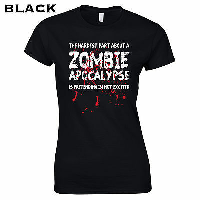 b49876a1a 075 Zombie Apocalypse Womens T-Shirt funny walking horror dead costume  halloween