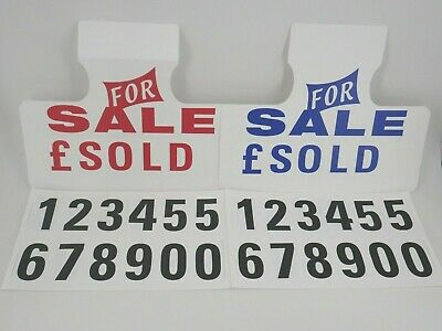 2 x Car For Sale Sign Visor Price Boards / Numbers & 2 x Self Cling Stickers