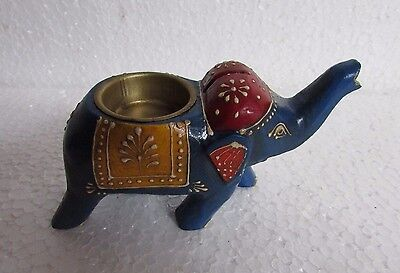 Vintage look Wooden Handcrafted Beautiful Hand Painted Elephant Candle Holder