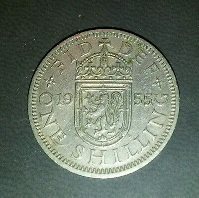 1955 British Elizabeth II Scottish Shilling - Fair (321)