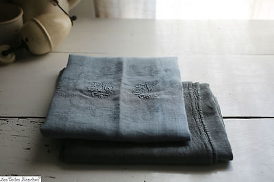 2 antique French DYED damasked linen EMBROIDERED kitchen towels 1900