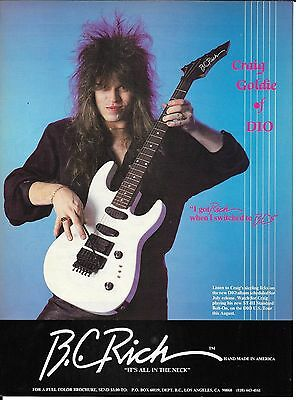 B.C. Rich Guitars - Craig Goldy of DIO - 1987 Print Advertisement