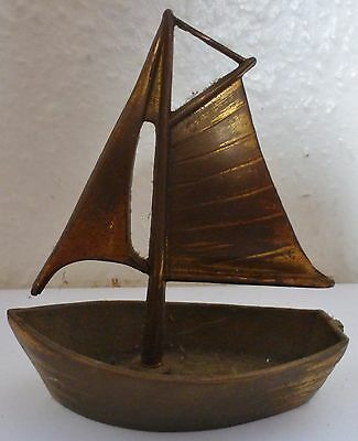 Vintage Solid Brass Sailing Boat Ornament