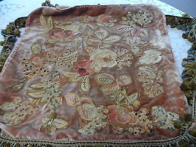 Vintage Embroidered Large Velvet Pillow Cover Ornate Flowers
