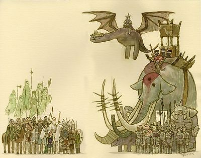 LORD OF THE RINGS. SCOTT CAMPBELL. Limited Edition Signed Print. Showdowns