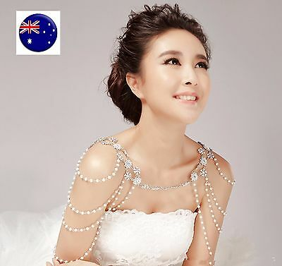 Women Lady Bride wedding Party Crystal Shoulder Body Chain Jewellery Necklace