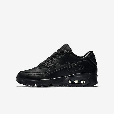 Nike AIR MAX 90 LEATHER (GS) NEW AUTHENTIC Black 833412-001