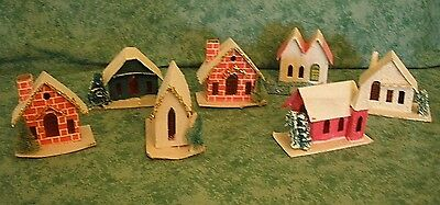 7 Vintage Cardboard Village Houses, Church~Putz?~Mica,glitter,trees~Japan