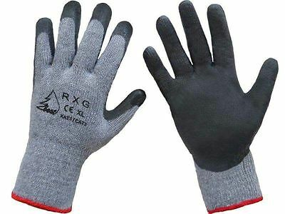 1,6,12 or 24 GLOVES GREY SIZE XL NYLON PU COATED SAFETY WORK GARDEN NEW