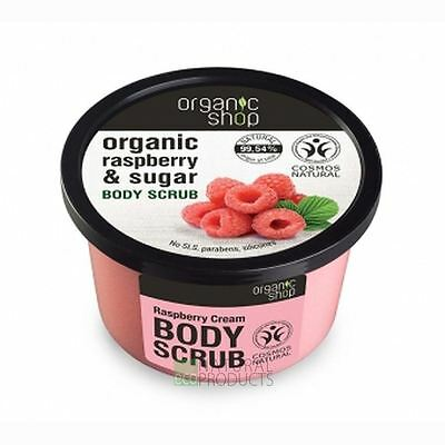 Organic Shop Body Scrub Natural Raspberry Cream and Sugar 250ml