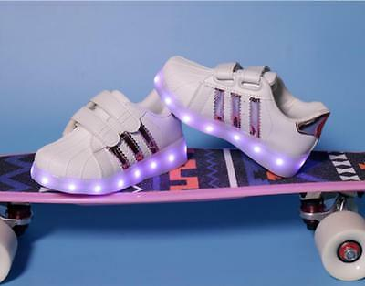 Light Up Shoes Flashing LED Trainers Shell Toe Sneakers For Baby Kids Boys Girls