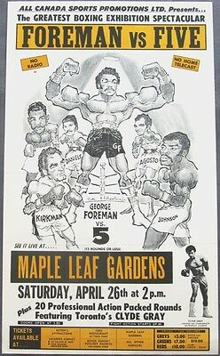 """GEORGE FOREMAN vs THE TORONTO 5    11""""X14""""  BOXING POSTER"""