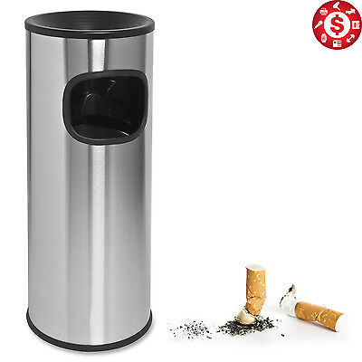 PATIO CIGARETTE RECEPTACLE Stainless Steel Outdoor Trash Can Patio Ashtray 3 Gal