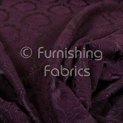 Soft Raised Damask Floral Purple Chenille Upholstery Curtain Furnishing Fabrics