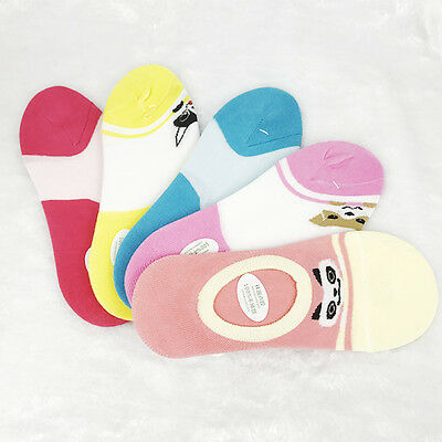 Women Casual Ankle High Low Cut Invisible Cute Cat Cotton Soft Socks 5 Pairs