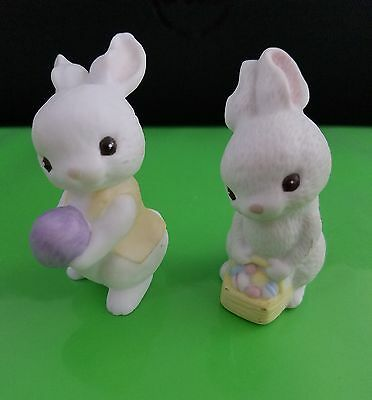 Hallmark 1982 & 1985 Porcelain Bunnies Merry Miniature Easter basket egg