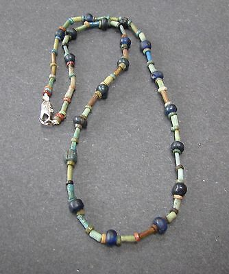 NILE  Ancient Egyptian Amulet Glass Mummy Bead Necklace ca 300 BC