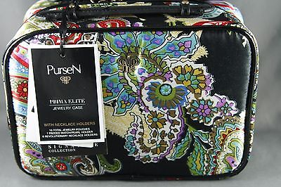 PurseN Prima Elite Jewelry Case With Necklace Holders Travel Tropical Paisley