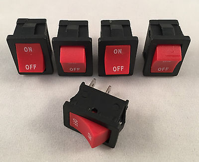 5 pcs ARE Red Rocker Switch 6A 125V 3A 250V ON-OFF Button 2 Pin SPST Electronics