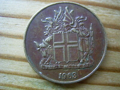 1963  Iceland 1 krona Coin collectable