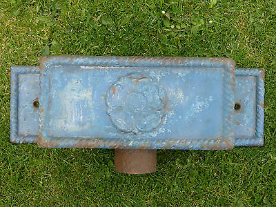 Victorian cast iron hopper head with rope edging & Yorkshire rose + lugs to fix