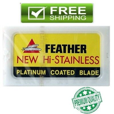50,100 FEATHER Hi-Stainless Platinum Coated Double Edge Razor Blades[Yellow Box]