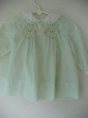 Vintage Baby Girls Mint Green Polly Flinders Smocked Dress