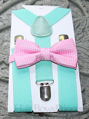 Kids Boys Baby SET Suspenders  bow tie 6months-5Y mint pink white polka dot