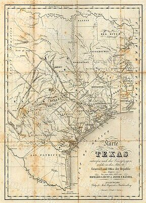 GIANT historic 1841 TEXAS STATE MAP OLD WEST ANTIQUE STYLE WALL FINE art print