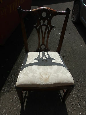 Bevan Funnell 'Reprodux' 6 Mahogany Dining Chairs; Damask Upholstery