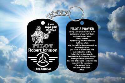 Airplane Pilot Gift Pilot's Prayer Dog Tag Keychain - Jesus Design, Personalized