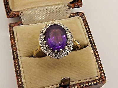 A Very Nice Large vintage Circa 1978 18ct Gold Amethyst & Diamond Cluster Ring