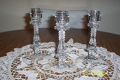 Three Crystal Elegant Glass Candle Holders Single  7 1/2""