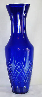 Vintage Tall Blue Glass Vase