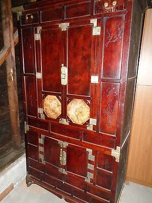 Korean antique furniture armoire chest dresser brown wood handmade 64 x 37