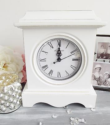 Shabby Vintage Chic White  Wooden Distressed Mantel Mantle Clock Antique French