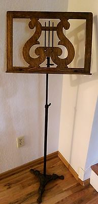 Antique Oak Lyre Adjustable Music Book Holder Cast Iron Claw Foot Base Stand