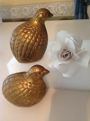 Vintage Antique Lot Of Two Brass Quail Bird Sculpture Figurines