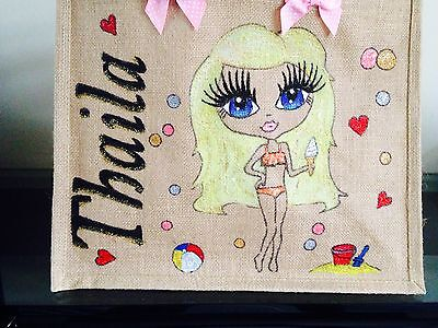 PERSONALISED LARGE JUTE BAGS Hand Painted To Your Design Beach School DANCING