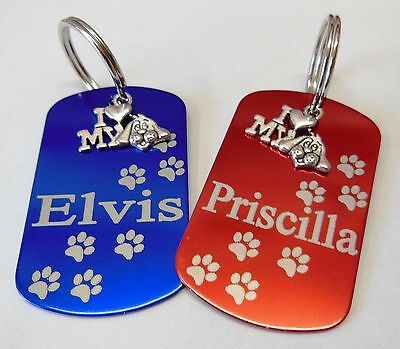 Dog Tag. Puppy Id Tag 'I Love My Dog' Name Tag Personalised Pet Identity Tags