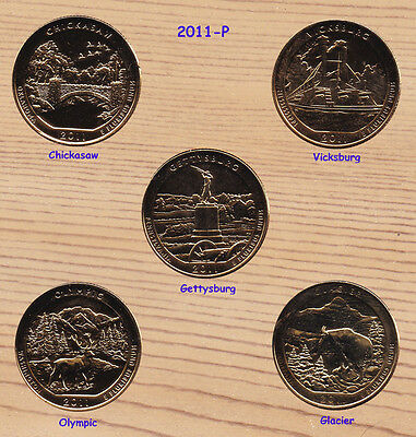 2011 P  24K Gold Plated America The Beautiful Parks Quarter Set 5-Coins