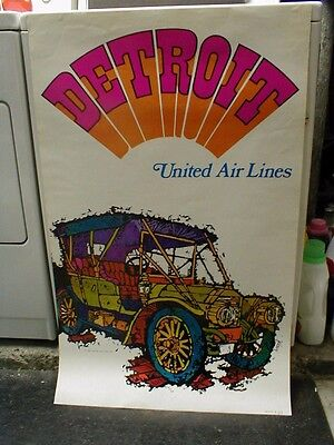 """ORIGINAL 1969 UNITED AIRLINES DETROIT TRAVEL POSTER by JEBAVY - 40"""" x 25"""""""