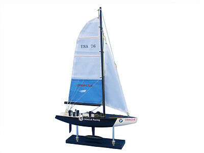 "America's Cup BMW Oracle Model Sailboat 14"" Built Wood Model Yacht  Assembled"