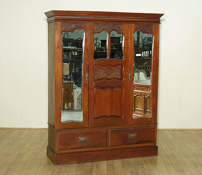 c1890 Antique English Victorian Walnut 2-Door Armoire Wardrobe w/ Mirrors